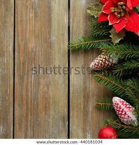 rustic christmas background, top view - stock photo