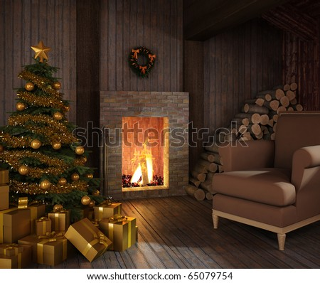 rustic christmas fireplace at night with tree, presents and couch
