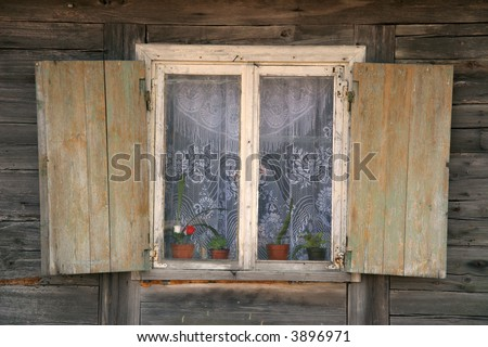 rustic country house window - stock photo