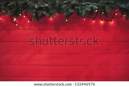 Rustic Decorative Red Christmas BackgroundNew Year Tree Branchgarland Light On Wooden Wallpaper