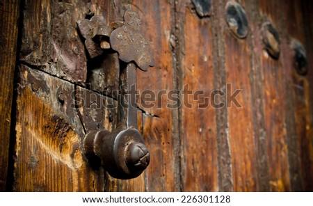 Rustic door knob - stock photo