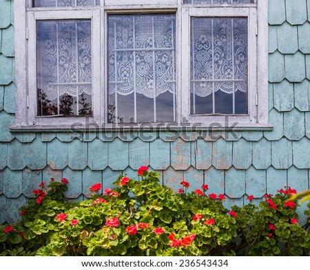 Rustic exterior of traditional house in Puerto Montt in Chile - stock photo