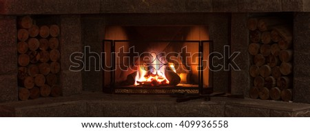 Rustic Fireplace with fire grid protection screen