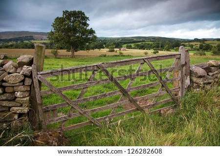 Rustic gate in drystone wall in Cumbria, England, UK.