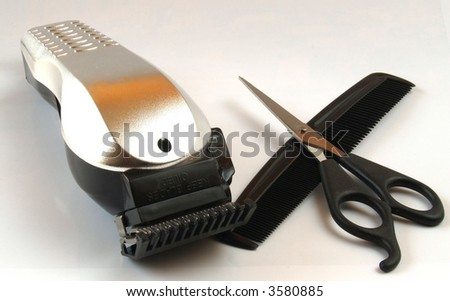 Rustic hair trimmer and scissors