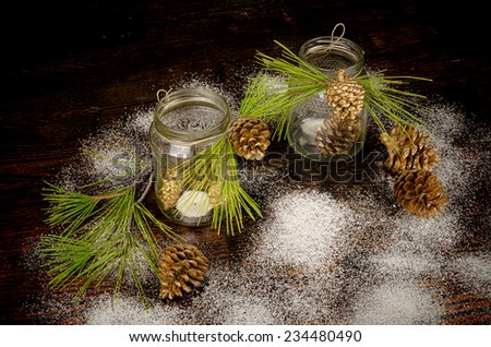 Rustic homemade Christmas arrangement on a wooden table