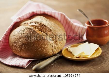 rustic,homemade,fresh wholegrain bread - stock photo