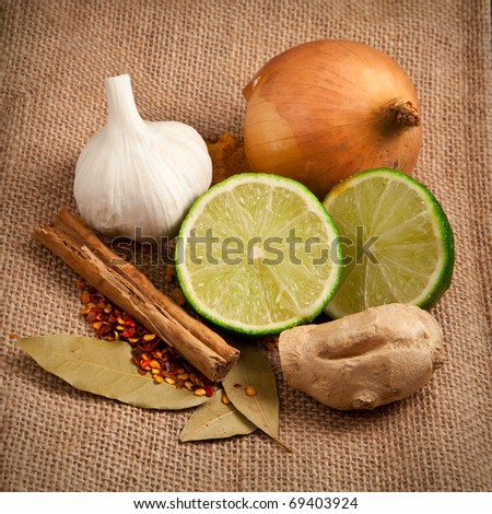 Rustic image of raw meal ingredients- curry or tagine - stock photo