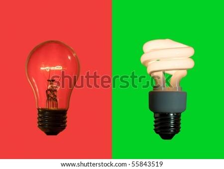 Rustic inefficient lamp verses fluorescent lamp - stock photo