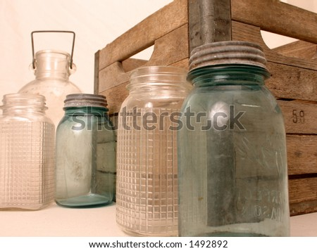 Rustic Jars and Milk Crate