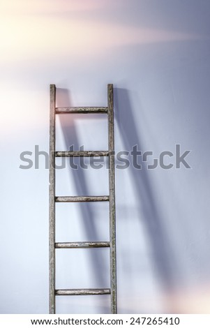 Rustic ladder leaning against a wall in the sunlight - stock photo