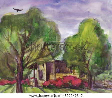 Rustic landscape house in the garden. Watercolor painting
