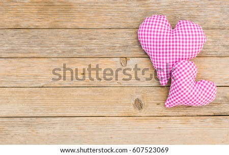 Rustic Love Background Two Pink Hearts On Wooden Surface With Copy Space For Wedding Or
