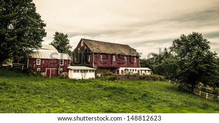 Rustic old barns on a farm in rural York County, Pennsylvania.