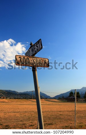 Rustic old street signs in rural Utah.