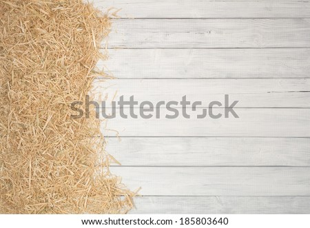 Rustic Painted Gray or White Wood Board Background with Straw Banner on Side for a Farm or Barn Effect.  Empty Room or space for copy, text.  Vertical - stock photo