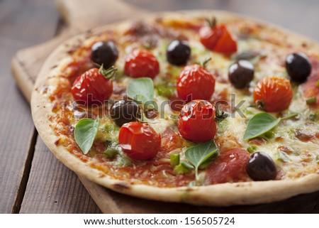rustic pizza - stock photo