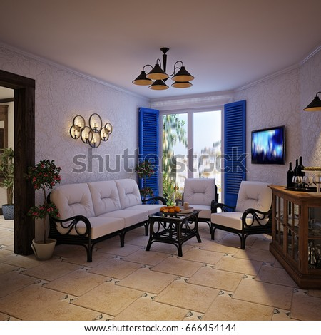 Mediterranean interior stock images royalty free images for Spanish style interior shutters