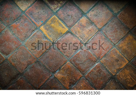 Rustic Red Clay Floor Tiles Stock Photo Royalty Free 596831300