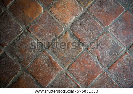 Rustic Red Clay Floor Tiles Stock Photo Royalty Free 596831333