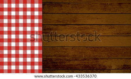 Rustic retro background with old brown wooden planks and red white tablecloth - stock photo
