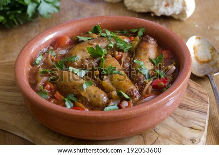 Rustic sausage and lentil one-pot - stock photo