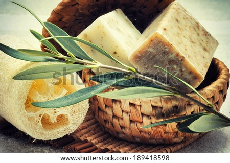 Rustic setting with natural olive soap - stock photo