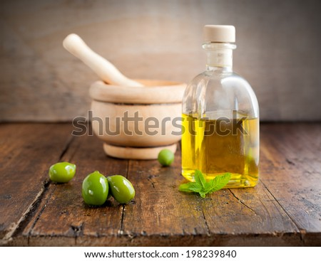 rustic still life with old wood background - stock photo