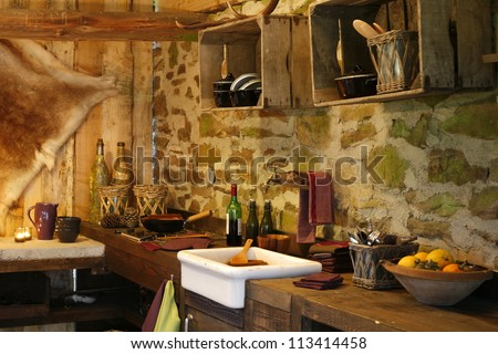Rustic style of kitchen interior