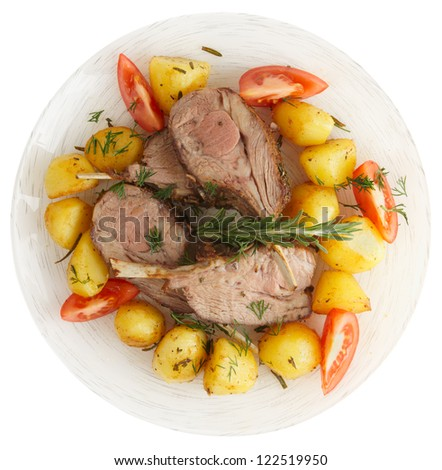 Rustic Style Rack Of Lamb With Fried Potatoes Isolated On White
