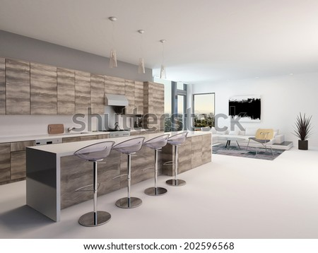 Rustic style wooden open-plan kitchen interior with a long bar counter and stools in a spacious living room with corner windows - stock photo