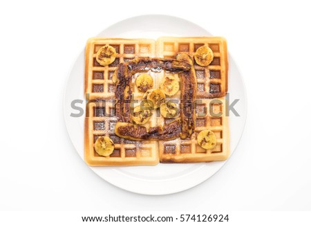 rustic sweet banana waffle on white background