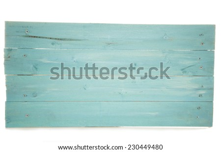 rustic turquoise wooden pallet sign cutout - stock photo