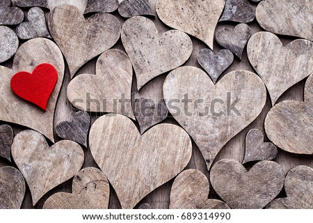 Rustic Valentines Day Background With Hearts