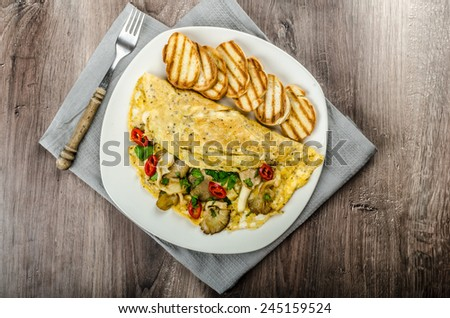 Rustic vegetarian omelette with chili peppers and mushrooms - stock photo
