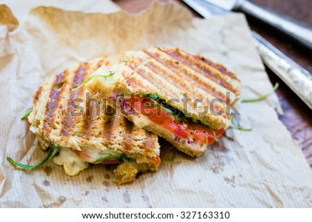 Rustic vegetarian panini with cheese and tomatoes, selective focus