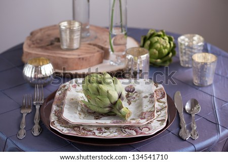 Rustic Vintage Reception Table Setting - stock photo