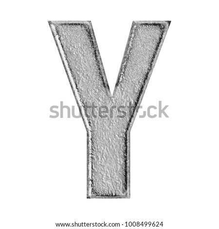 Rustic weathered gray stone uppercase or capital letter Y in a 3D illustration with a rough rocky textured surface and aged natural color bold font isolated on a white background with clipping path.