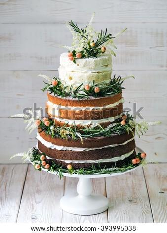 Rustic wedding cake - stock photo