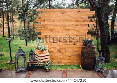 Rustic Wedding Photo Zone Hand Made Decorations Includes Booth Wooden Barrels And