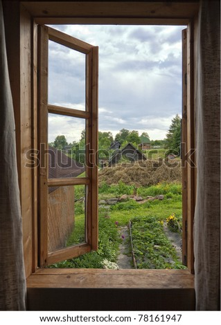 Rustic window, Russia, house, village
