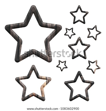 Rustic Wood Panel Set Of Rounded Star Outline Shape Design Elements In A 3D Illustration With