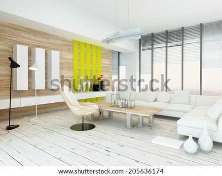 Rustic wood veneer finish living room interior with natural wood coffee table and wall panels and white painted wooden floorboards, yellow accents and large view windows - stock photo