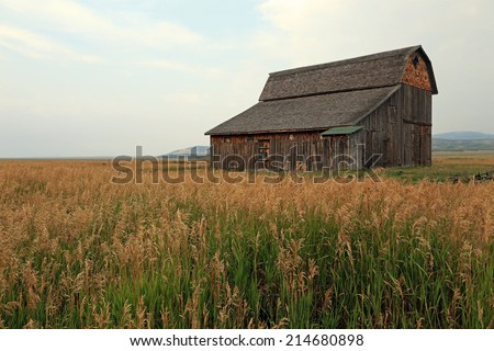 Rustic wooden barn in rural Wyoming, USA. - stock photo