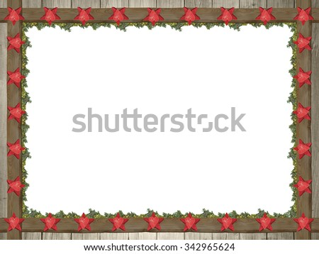 rustic wooden frame with red stars and green thuja, christmas card backdrop