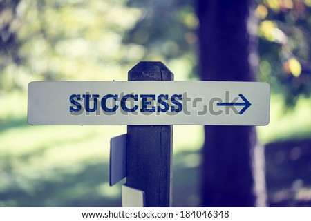 Rustic wooden signboard with the word Success and a right pointing arrow outdoors in green woodland in a conceptual image. - stock photo
