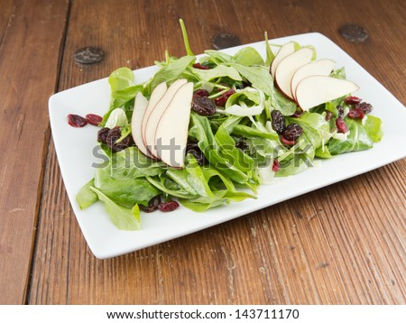 Rustically styled single serving of gourmet raw crispy spinach salad with dried cranberries and sliced red pears. - stock photo