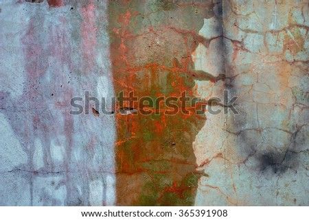Rusty aged colored vivid concrete texture background. Vintage effect. - stock photo