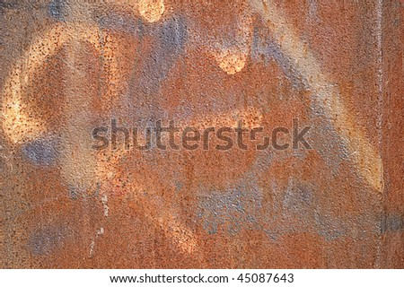 Rusty background with sprayed paint - stock photo