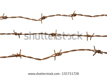 Rusty barb wire isolated on white background - stock photo